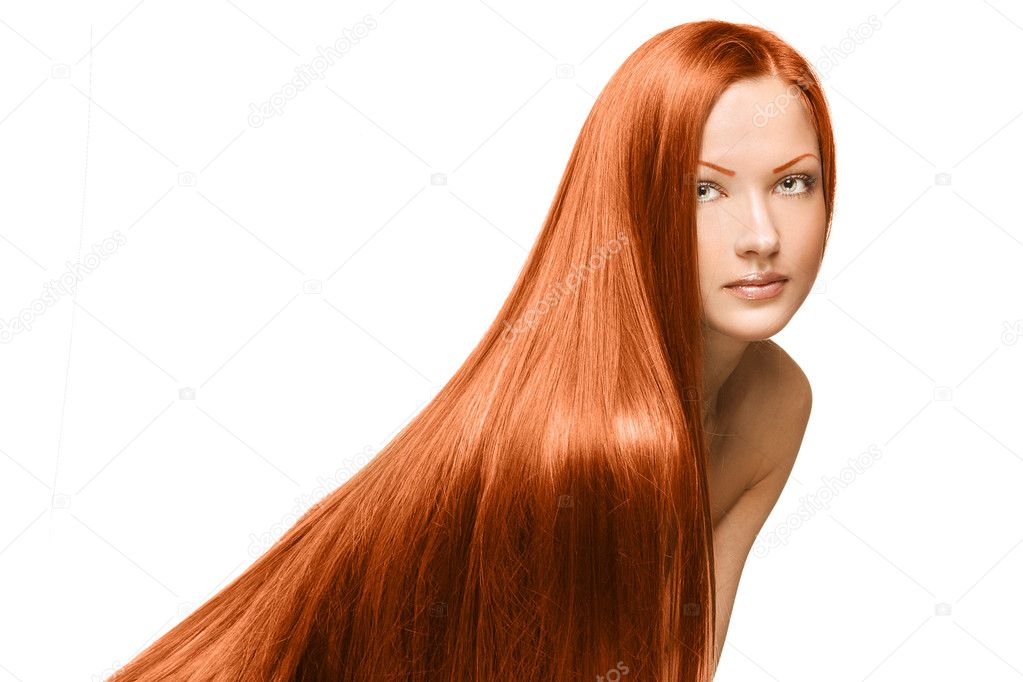 Portrait of a beautiful woman with long red healthy shiny straight hair, isolated on white ...