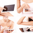 Woman hands holding and pointing on tablet computer with blank screen - Stock Photo