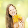 Beautiful smiling woman, holds autumn leafs — Stock Photo #13693599