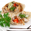 Stock Photo: Image of doner kebab on white plate