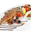 Grilled fish with vegetable — Stock Photo