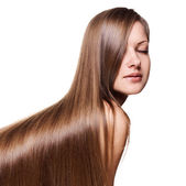 Portrait of a beautiful woman with long healthy shiny straight hair, isolated on white — Stock Photo