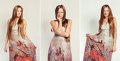 Fashion collage of a young beautiful woman with long hair in dress — Stock Photo