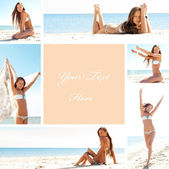 Collage of a happy beautiful woman having fun on the beach — Stock Photo