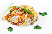 Rice with beans and vegetables — Stock Photo