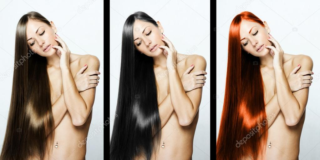 Collage of a beautiful young woman with long natural straight hair, mixed color - concept hairstyle. — Stock Photo #13884953