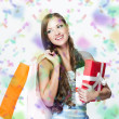 Beautiful young woman with shopping bags and Christmas presents — Stok fotoğraf
