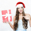 Young beautiful woman in Santa hat  — Stock Photo
