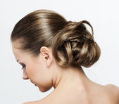 A portrait of a beautiful woman with hairstyle — Stock Photo
