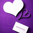 Two valentine's paper hearts — Stock Photo