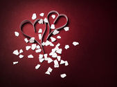 Valentine's decoration of two paper hearts — Stock Photo