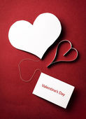 Two valentine's paper hearts — Stock fotografie