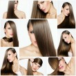 Fashion hairstyle collage — 图库照片