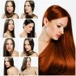 Fashion hairstyle collage — Stock Photo