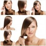 Fashion hairstyle collage — Stock Photo