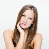 Fashion model with long straight hair. — Stock Photo
