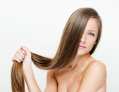 Woman with beauty long brown hair — Stock Photo