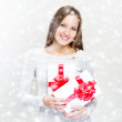 Woman with gift boxes — Stock Photo