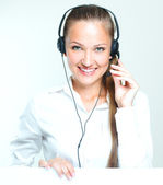 Woman call center operator — Stock Photo