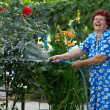 Laughing senior woman in colorful dress irrigating flower garden — Stock Photo