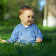 Stock Photo: Beautiful baby boy sitting among green grass on spring lawn