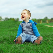 Happy laughing baby boy sitting on green field — Stock Photo #13549486
