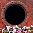 Round window frame on rusty metal surface background and peach blossom branch — Stock Photo