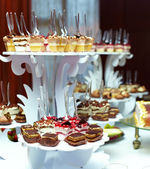 Many servings of sweet tasty dessert on buffet — Stok fotoğraf