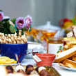 Tasty delicious of English tea party, with fresh fruits, jam, biscuits and — Photo