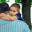 Little son adores father — Stock Photo