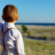 Cute stylish baby boy pointing something on the distance, rear view — Stock Photo