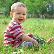 Happy smiling baby boy sitting on green summer field — Stock Photo #13554754