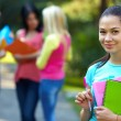 Pretty student outdoors with a group of on the background — Stock Photo #13567874
