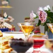 Tasty delicious of English tea party, with fresh fruits, jam, biscuits, cho — Stock Photo