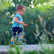 First steps of cute baby boy on footpath among greens — Stock Photo #13672558