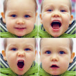Close-up portrait of different face expressions of small baby boy. outdoors — Stock Photo