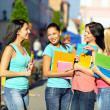 Four beautiful college girls talking on the street — Stock Photo