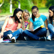 Stock Photo: Four beautiful girls friends read books, sitting on the ground