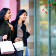 Two excited happy women looking in shop window - Stock Photo