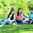 Four smiling student girls studying in green park - Стоковая фотография