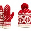 Winter cap and mittens hand knitted with jacquard motifs, isolated — Stockfoto