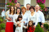 Big happy family portrait, at home yard — Stock Photo