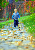 Little baby boy running in colorful autumn park — Stock Photo
