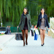 Happy women walking the city street with shopping bags — Stock Photo #16228669