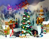 Speelgoed Kerstmis stad — Stockfoto