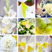 Wedding collage in yellow and green color theme — Stock Photo