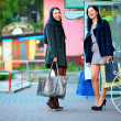 Two elegant women shopping in the city store — Stock Photo