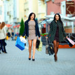 Stock Photo: Two elegant women shopping in the city stores
