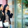 Two happy elegant women looking in shop window — Stock Photo #16269067
