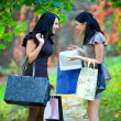 Laughing women in autumn park with shopping packages — Stock Photo #16583695